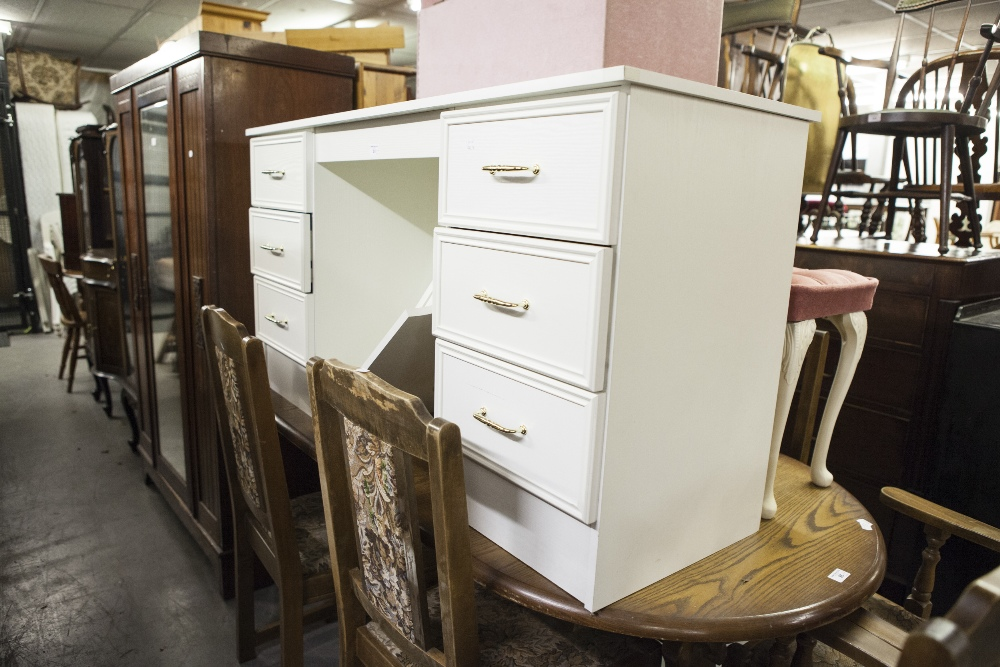 Lot 51 - A MODERN WHITE DRESSING TABLE, WITH TRIPLE MIRROR, A MATCHING PAIR OF BEDSIDE CABINETS, STOOL WITH