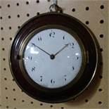 A George III sedan chair clock, walnut cased, D.16cm