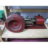 A Large Model of A Horizontal Single Cylinder Steam Engine, heavy cast flywheel 13½cm diameter, 34cm