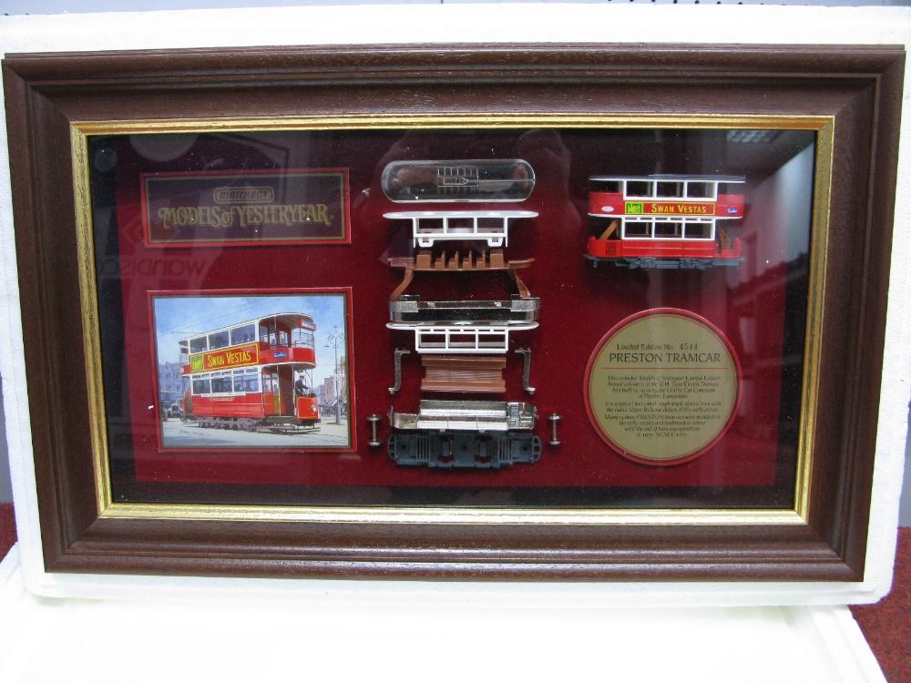 "Lot 32 - Matchbox ""Models Of Yesteryear"" Framed Cabinet Displaying Model of Preston Tramcar, in London"