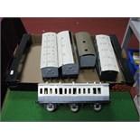 "Five Kit Built ""Gauge 1"" White Metal/Brass Rolling Four Wheel and Six Wheel Stock Passenger"