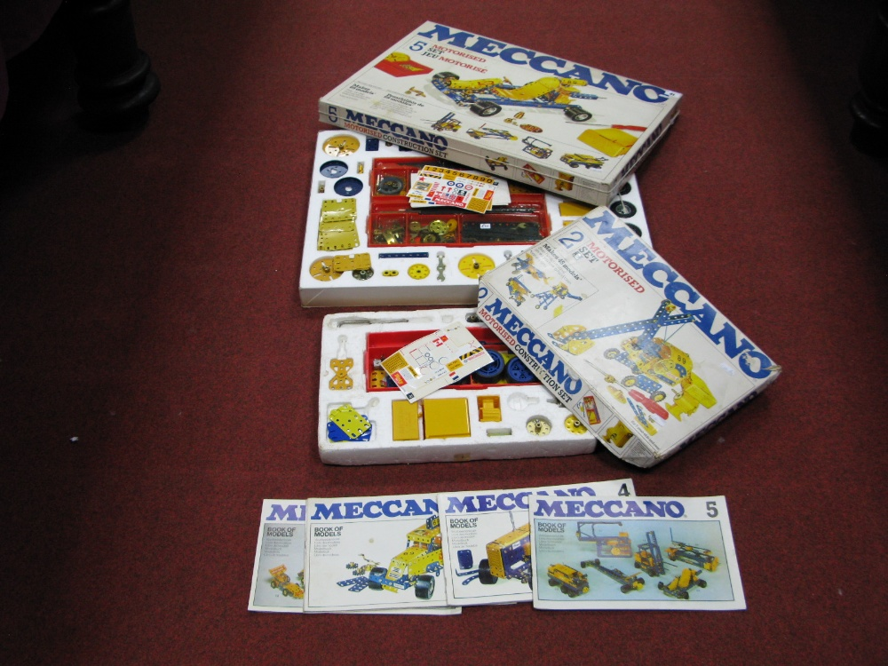 Lot 41 - A 1978 Meccano Motorised Set No. 5, boxed. Plus a No. 2 Set, in poor condition:- Boxed