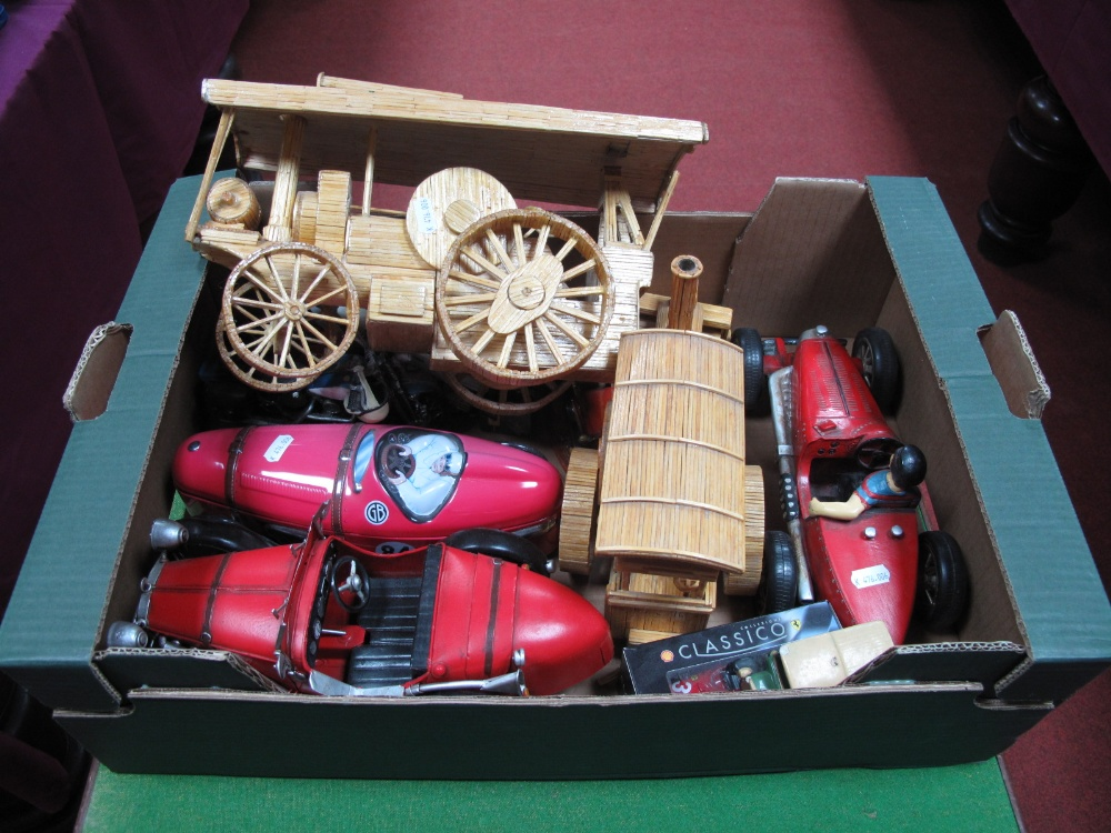 Lot 59 - An Assortment of Models, including tin-plate diecast and wooden models.
