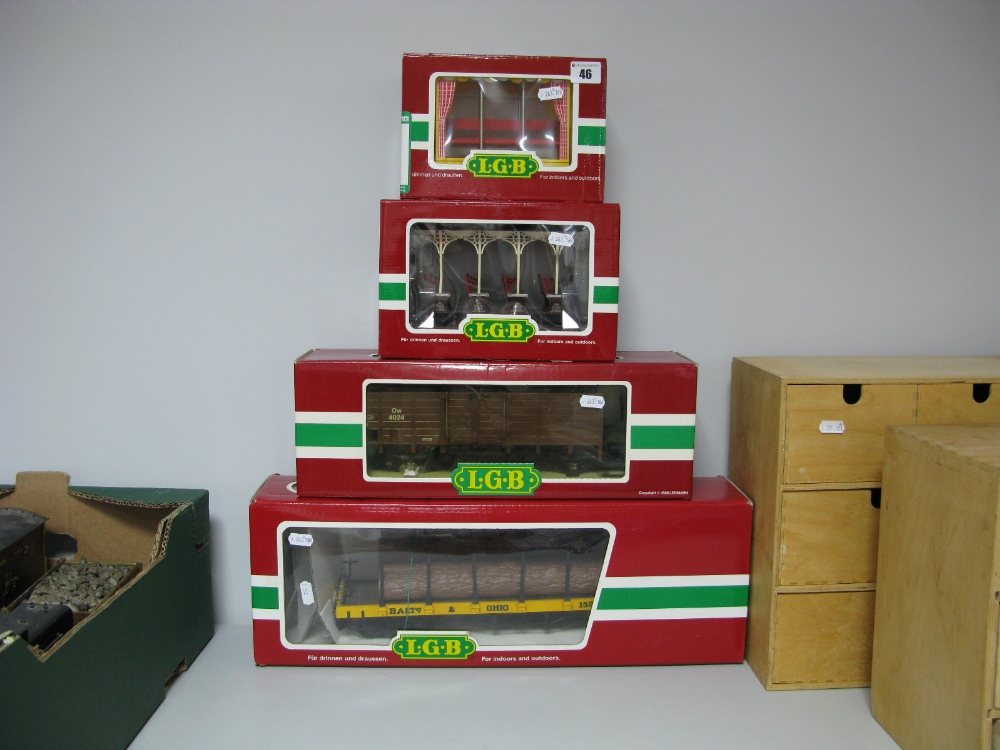 "Lot 46 - Four Boxed ""G Scale"" Rolling Stock Wagons and Cars by L.G.B., including #4024 Open Plank Wagon, #"