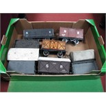 """Nine Gauge 1/""""G"""" Scale Rolling Stock Wagons and Vans, including SR Container Van, Hall and Co."""
