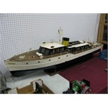 A Steam Powered Scratch Built Pond Launch In The Form Of A Cabin Cruiser, under the name 'Lady
