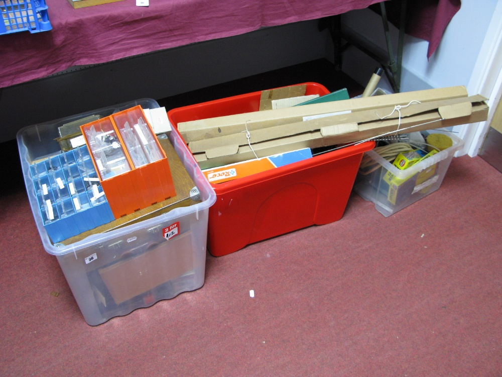 Lot 36 - Contents of a Railway Modelers Workshop, including lineside accessories, spare parts, tools,