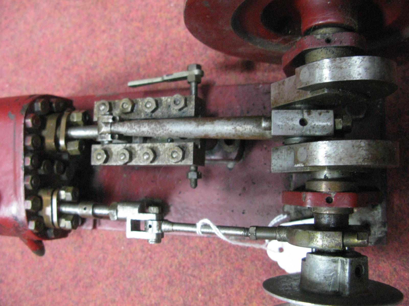 Lot 22 - A Large Model of A Horizontal Single Cylinder Steam Engine, heavy cast flywheel 13½cm diameter, 34cm