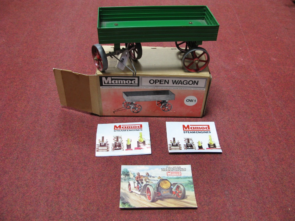 Lot 15 - A Mamod OW.1 Open Wagon In Green, appears unused, boxed, plus catalogue.