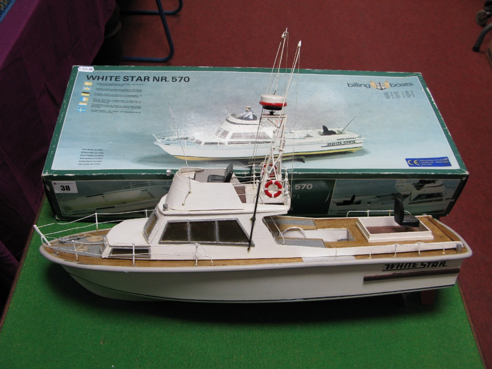 Lot 38 - A Kit Built Billing Boats #570 'White Star' Plastic and Wood Construction Motorboat, length 54cm,