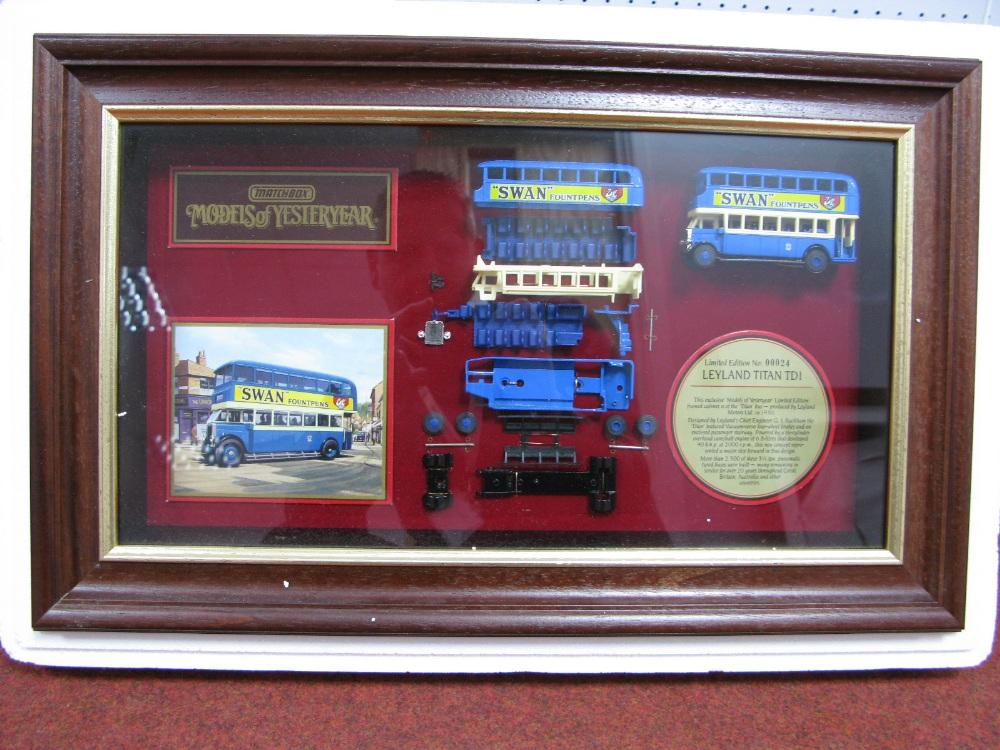 "Lot 34 - Matchbox ""Models of Yesteryear"" Framed Cabinet displaying Model YY942, Leyland Titan TDI double"