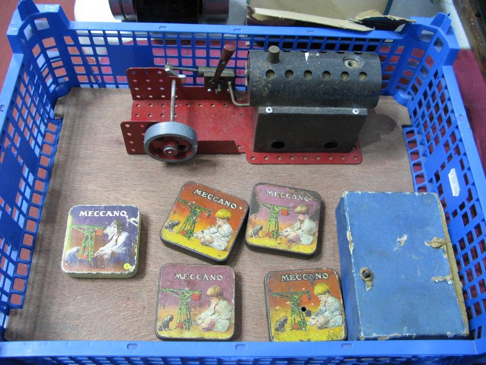 Lot 13 - A 1970's Meccano Steam Engine (A/E), plus five pre war Meccano tins and a clockwork motor.