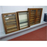 Three wooden Glass Fronted Display Cabinets, #1 Height 63cm, Width 47cm, Depth 13.5cm, (four glass
