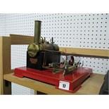 A Mamod SE4 Twin Cylinder Stationary Live Steam Engine, model has been steamed, burner present,