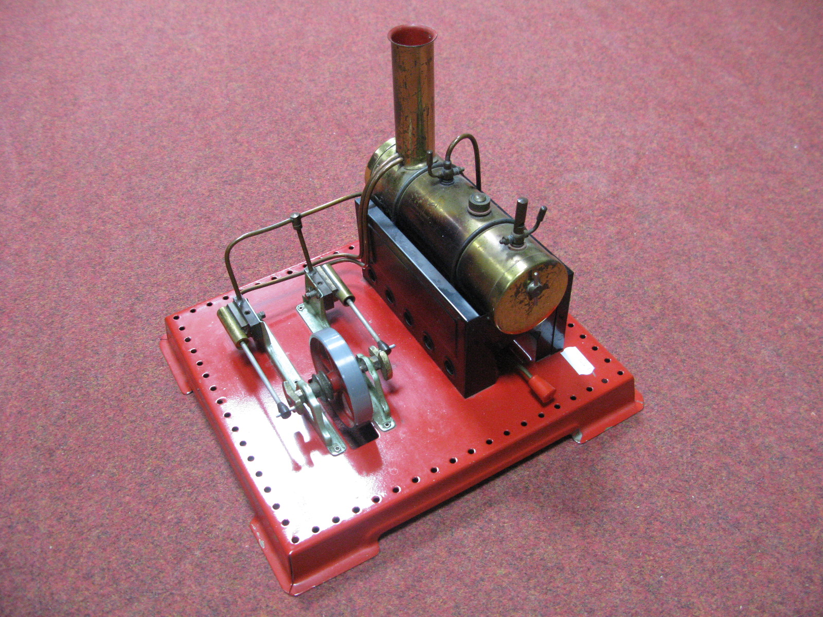 Lot 17 - A Mamod SE4 Twin Cylinder Stationary Live Steam Engine, model has been steamed, burner present,