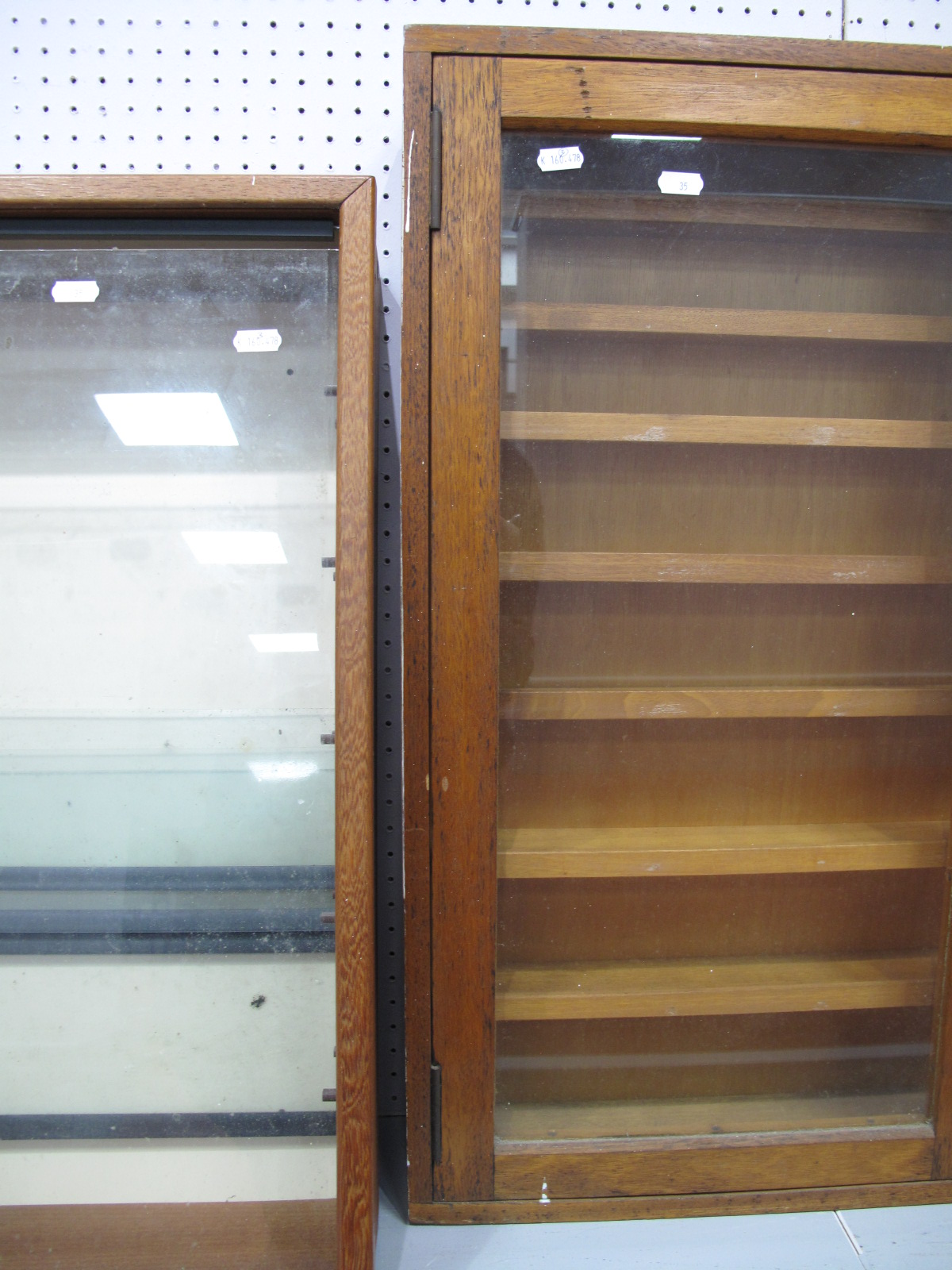 Lot 35 - Three wooden Glass Fronted Display Cabinets, #1 Height 63cm, Width 47cm, Depth 13.5cm, (four glass