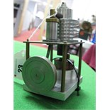 A Small Single Cylinder Vertical Machined Hot Air Engine, Flywheel 4cm diameter, 12cm high.
