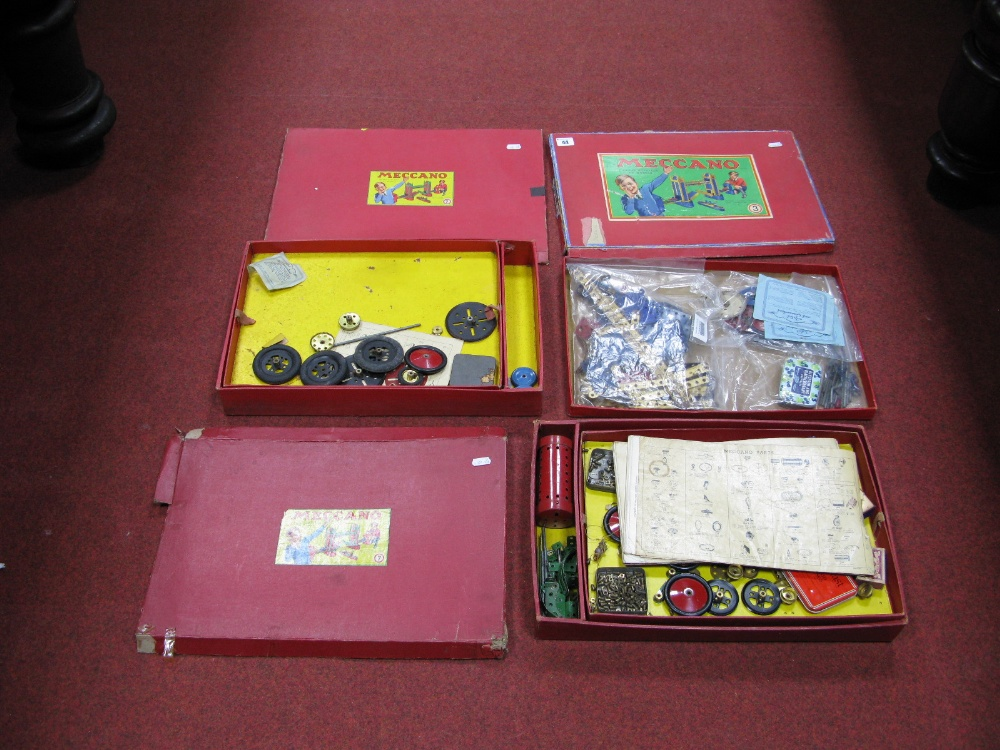 Lot 44 - A Pre War No. 3 Meccano Set, (blue and gold), playworn, unchecked. Plus two Post War No. 7 Sets,