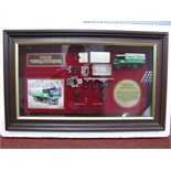 """Matchbox """"Models of Yesteryear"""" Framed Cabinet Displaying Model YY908, Yorkshire steam wagon in"""