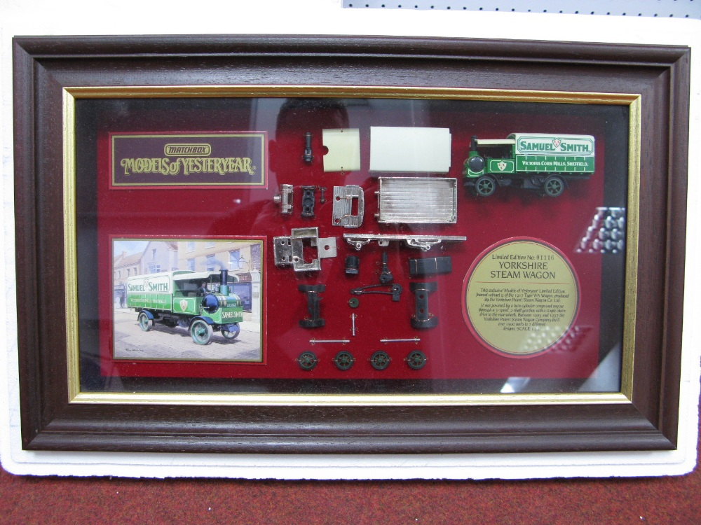 "Lot 33 - Matchbox ""Models of Yesteryear"" Framed Cabinet Displaying Model YY908, Yorkshire steam wagon in"