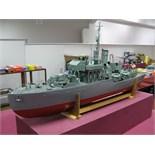 A Scratch Built Wooden Hulled Flower Class Corvette Escort Vessel 'British Navy', battery powered,