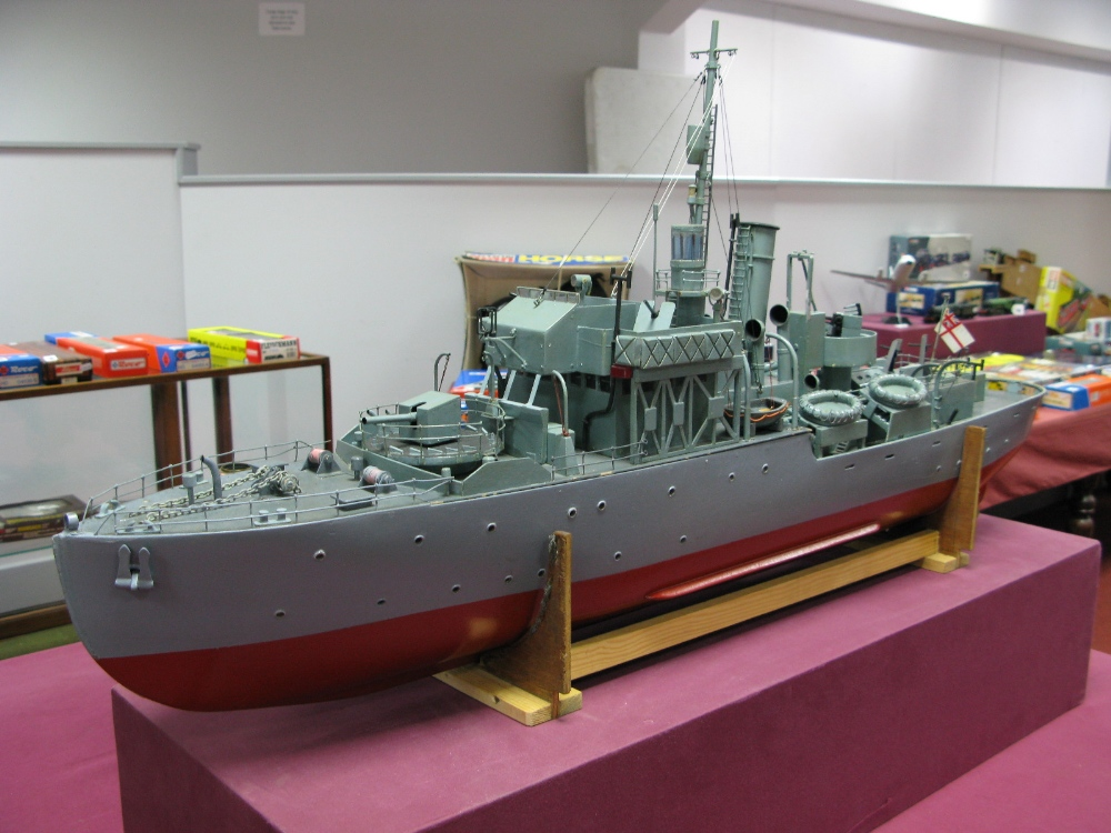 Lot 31 - A Scratch Built Wooden Hulled Flower Class Corvette Escort Vessel 'British Navy', battery powered,