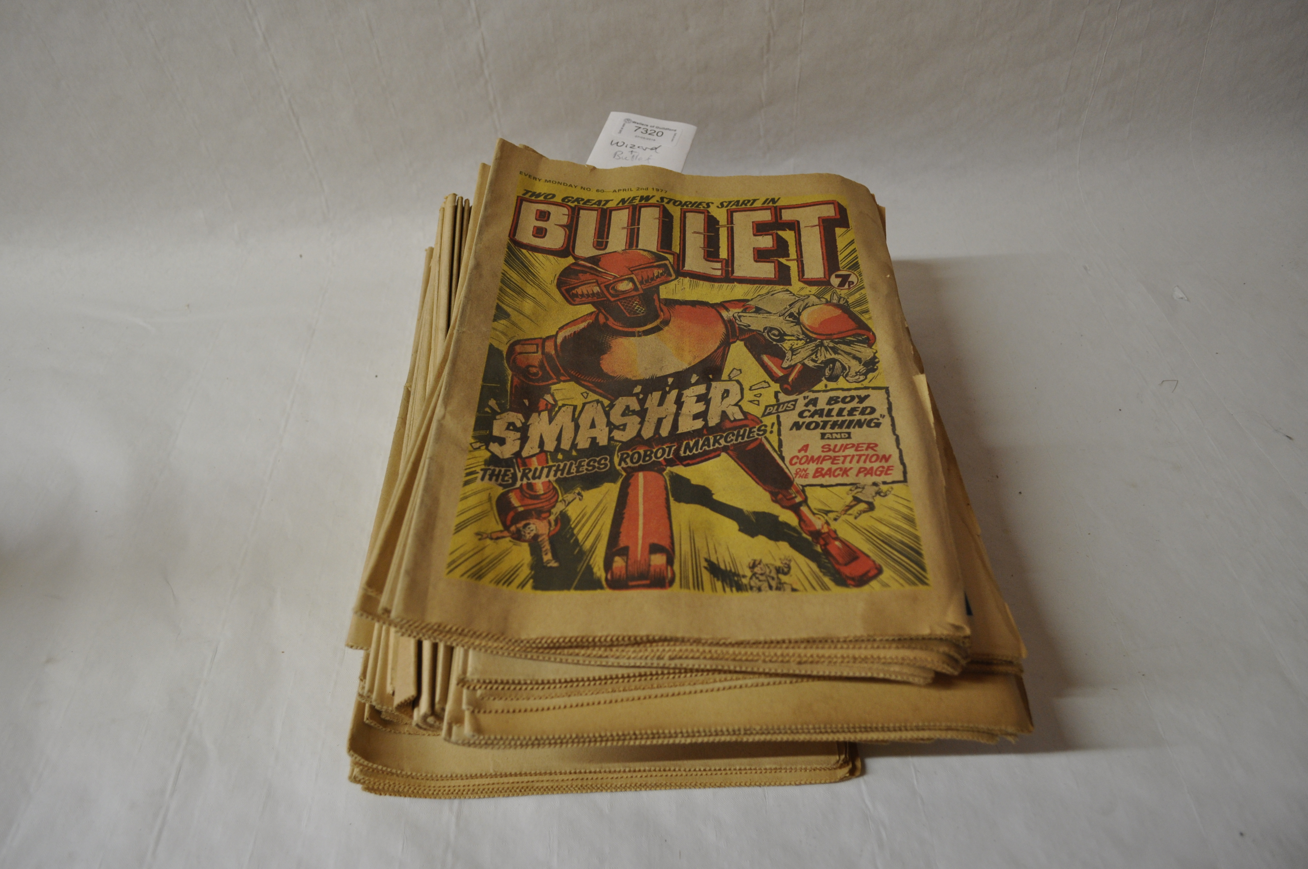 Lot 7320 - Mixed 1970's comics including Bullet and Wizard, over 50 issues