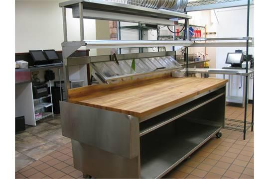 Custom prep table w/Boos Block cutting top w/shelving & Nemco 6150 ...
