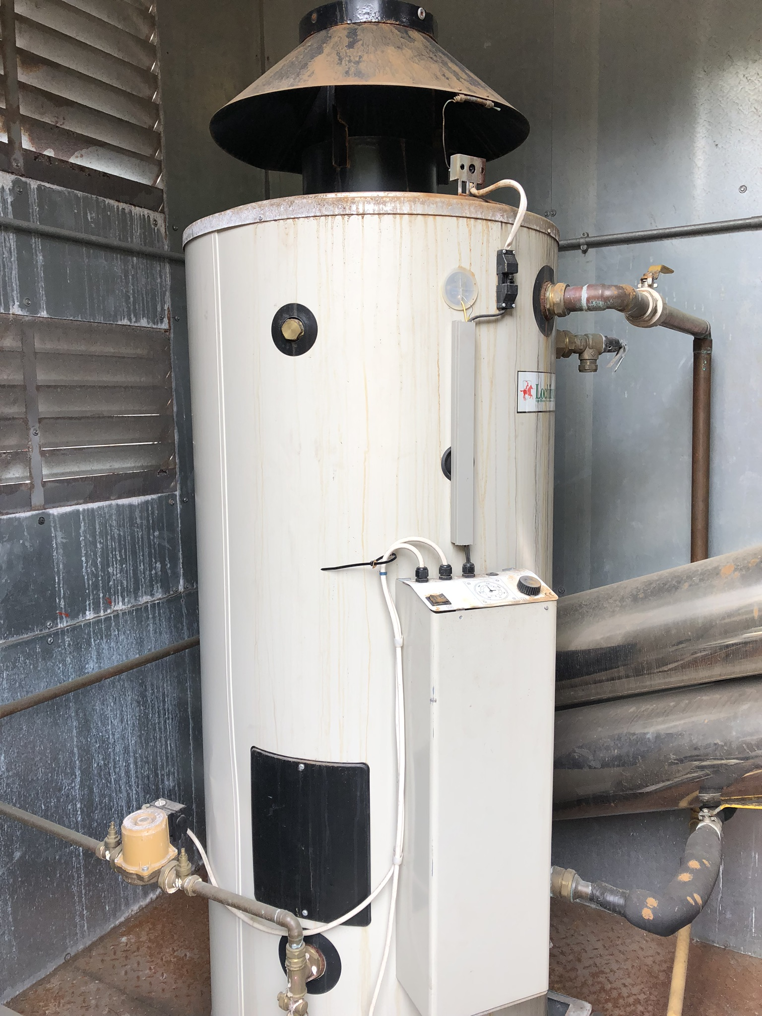 Two Lochnivar Gas Water Heaters, in container, with chimneys, lift out charge - £100