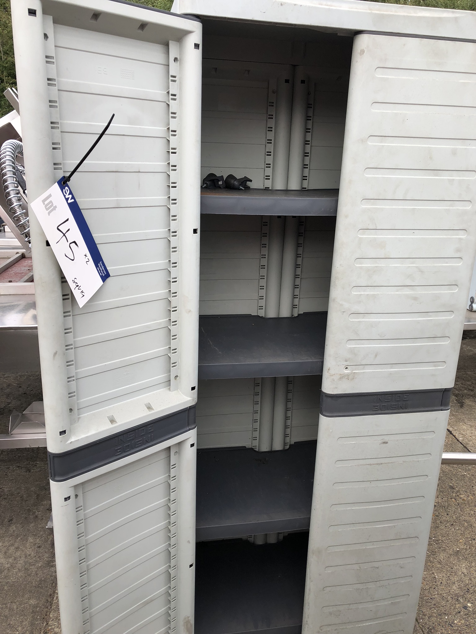 Two Plastic Cupboards, approx. 0.7m x 0.5m x 1.8m high, lift out charge - £20 - Image 3 of 3