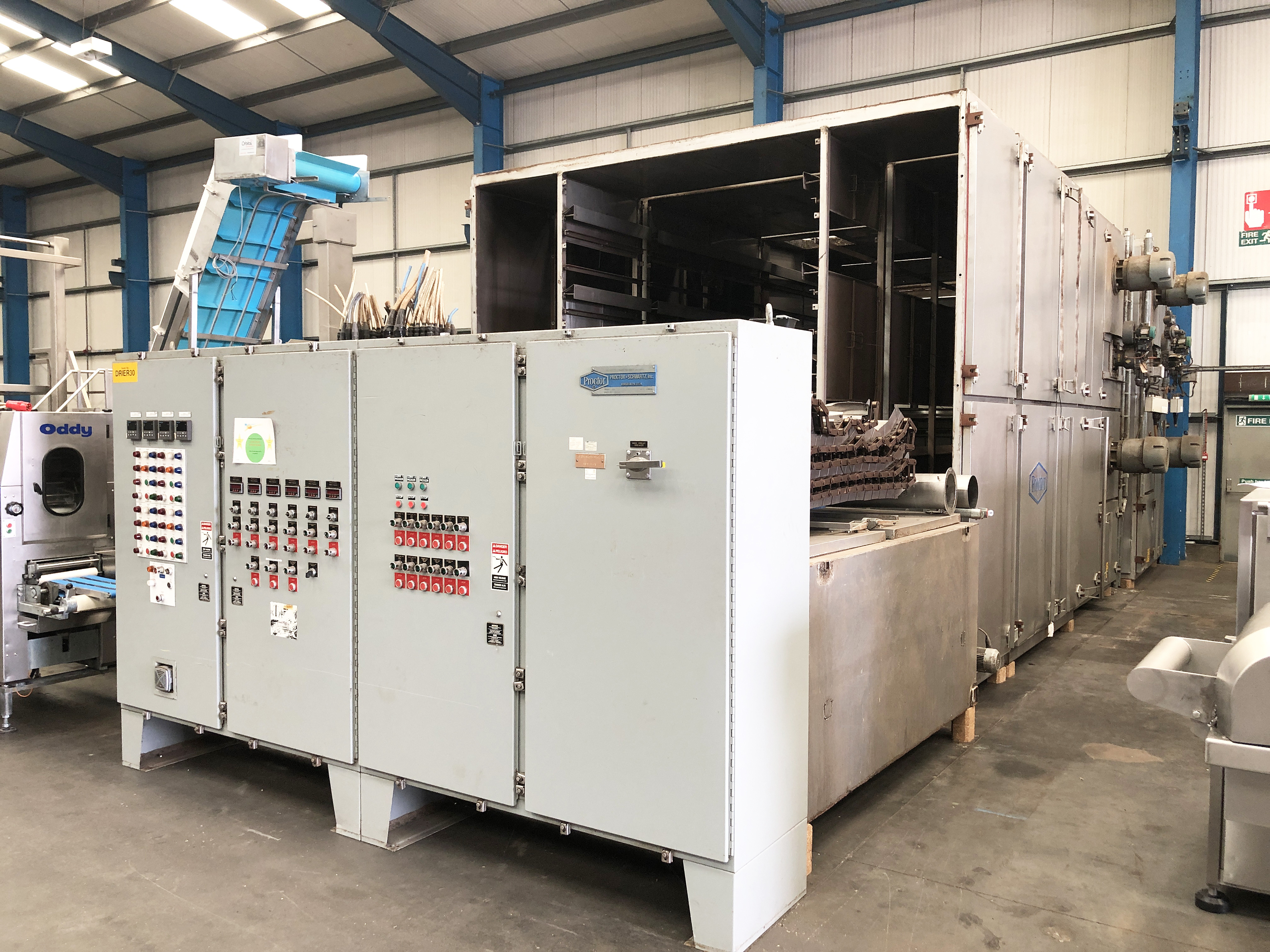 Proctor FIVE PASS GAS FIRED DRYER (dismantled by Blackrow Engineering), approx. 15m long x 5m wide x
