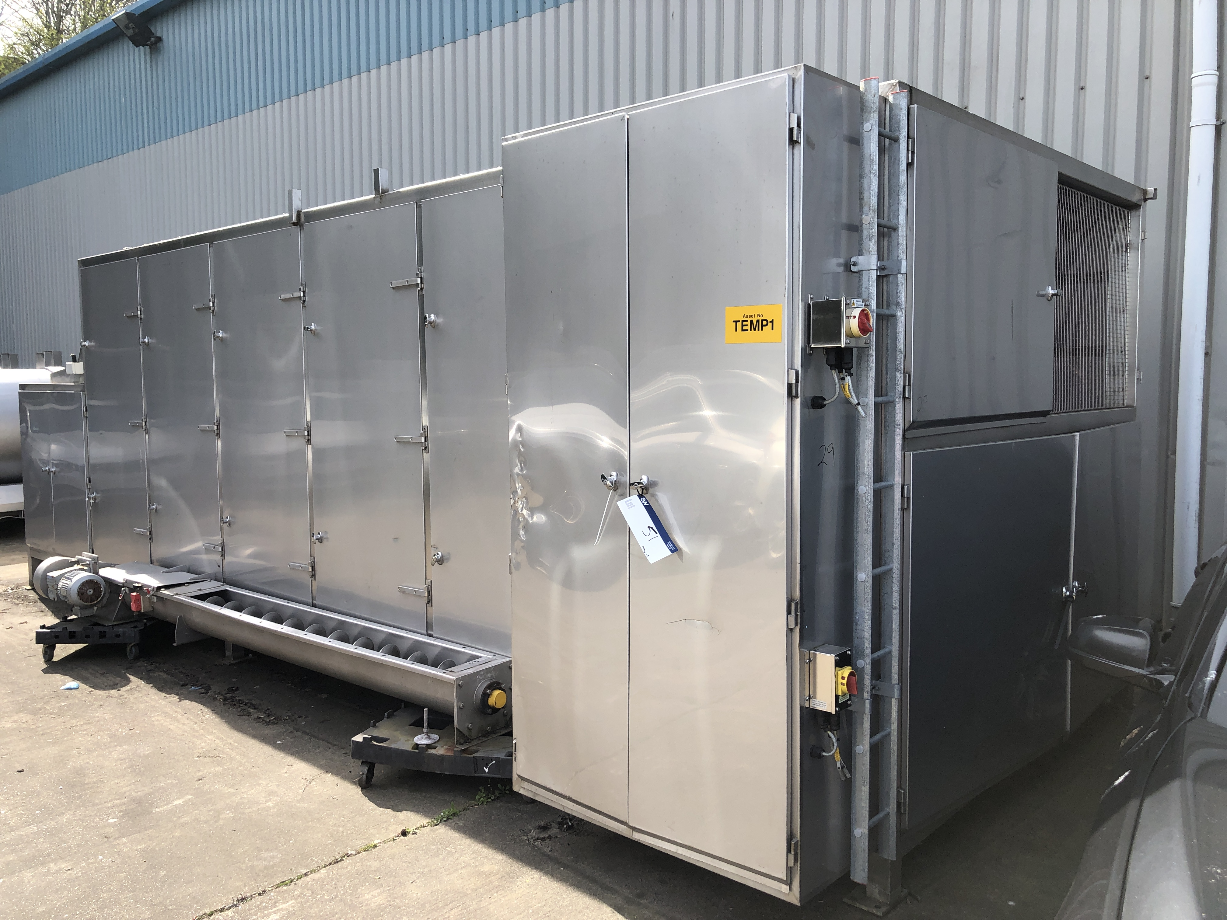 Proctor COOLER/ SURGE DRUM, with outfeed auger and 2.2m stainless steel belt, approx. 7.5m long x