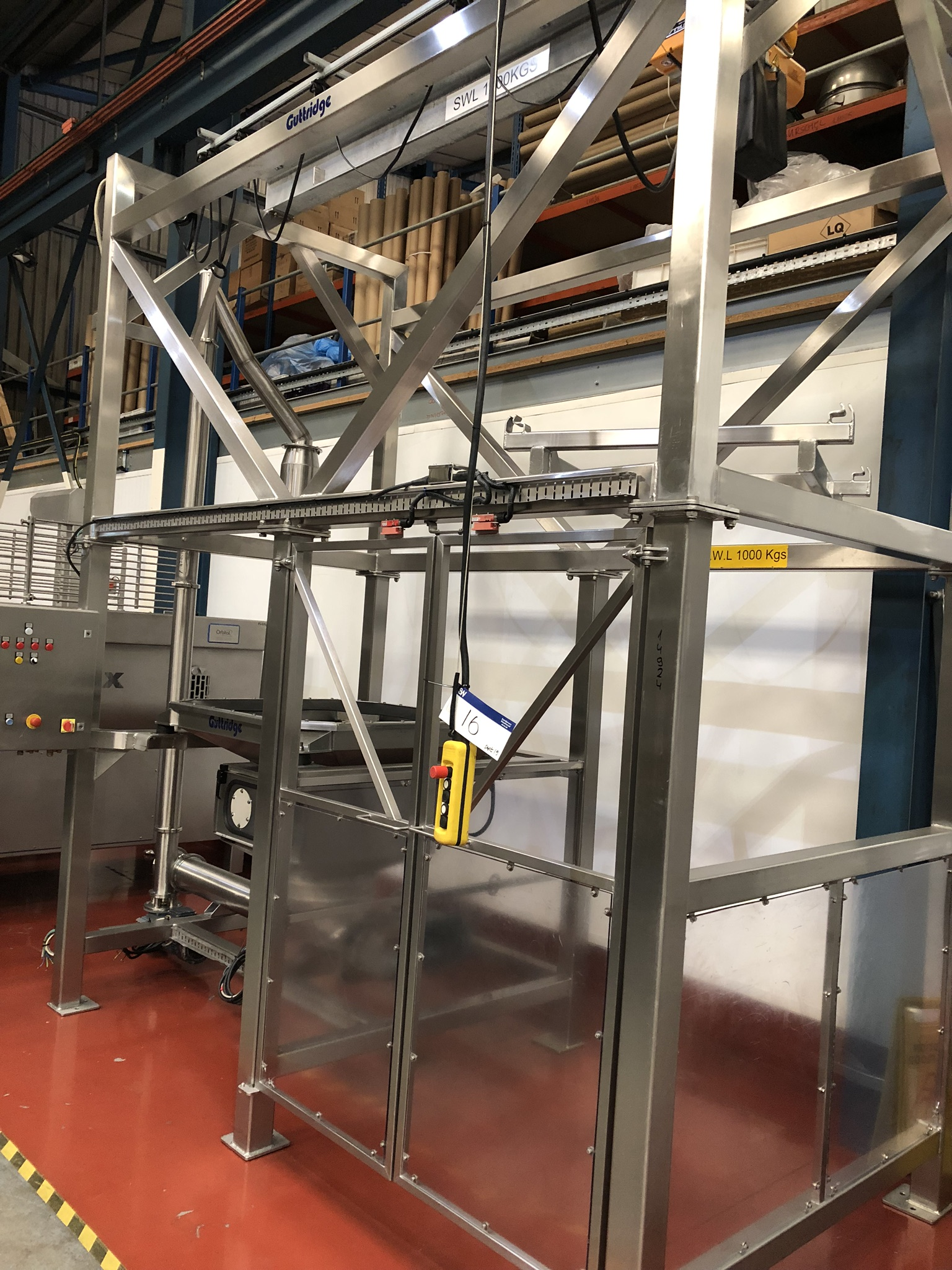 Guttridge 1000KG BULK BAG UNLOADING SYSTEM, with Star Liftket electric chain hoist, lift out