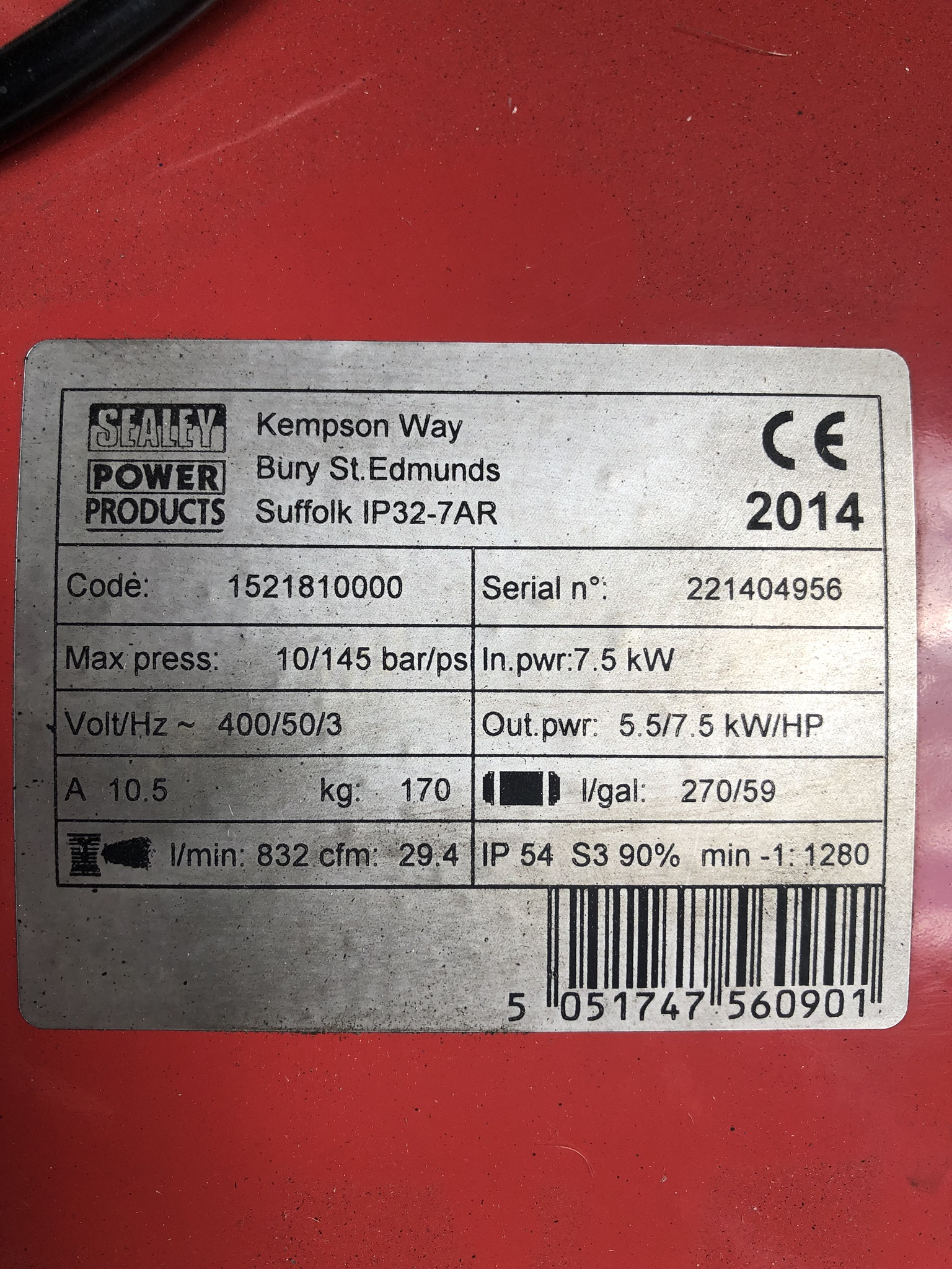 Sealey 270L Receiver Mounted Air Compressor, serial no. 221404956, year of manufacture 2014, approx. - Image 3 of 4