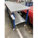 Mobile Table, with shelf, approx. 1.7m x 0.76m x 1m high, lift out charge - £20