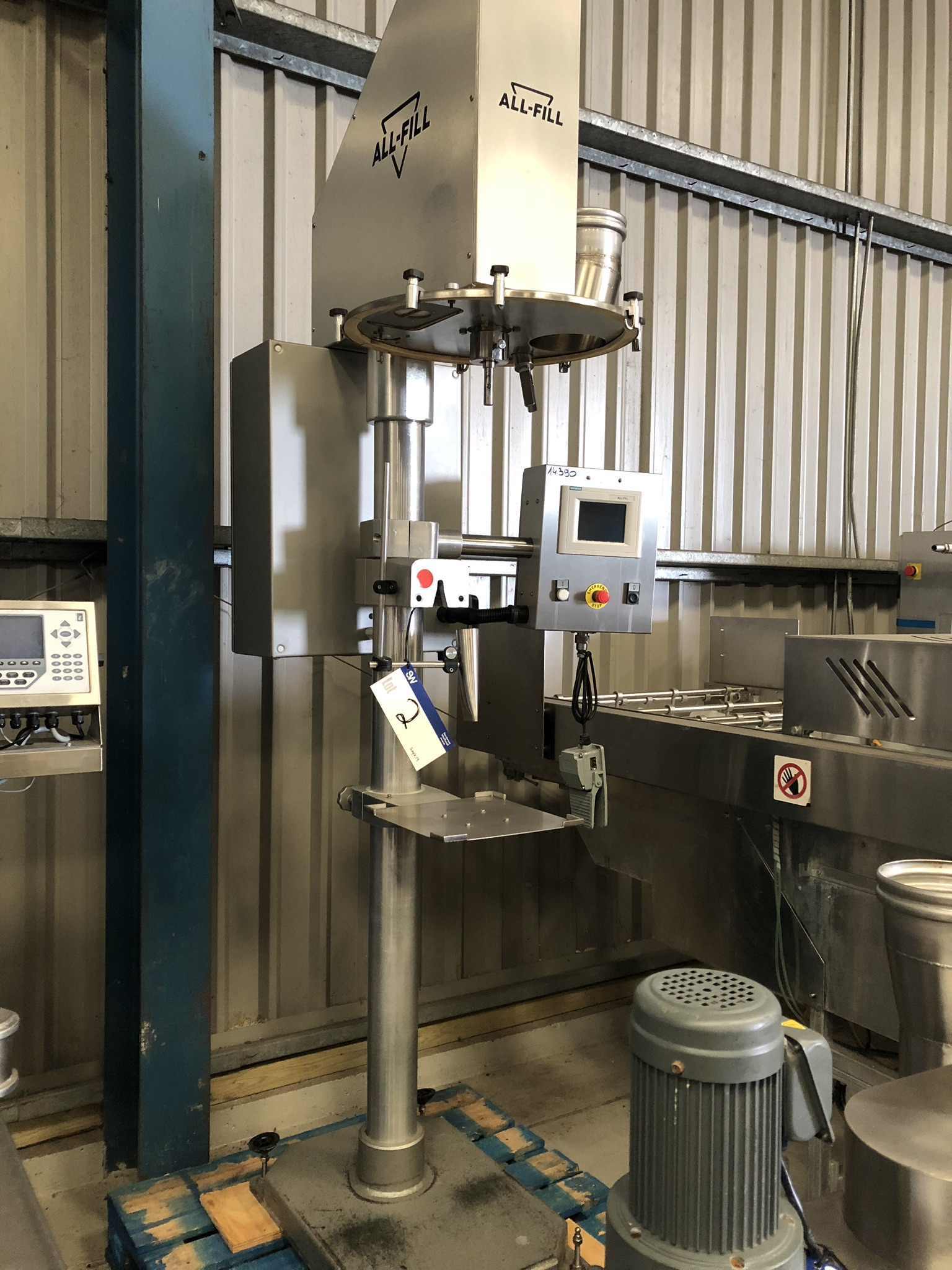 AllFill POWDER DEPOSITOR, with Siemens control panel, approx. 2.6m high x 1m x 1m, lift out charge -