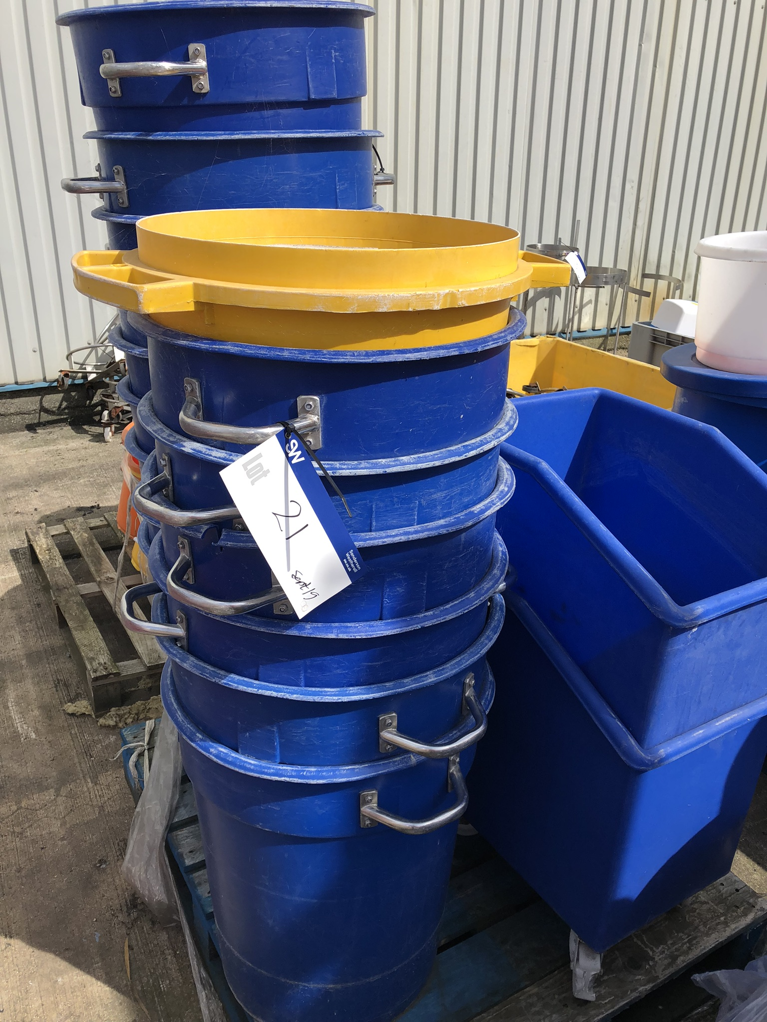Four Pallets of Plastic Bin Buckets, lift out charge - £50