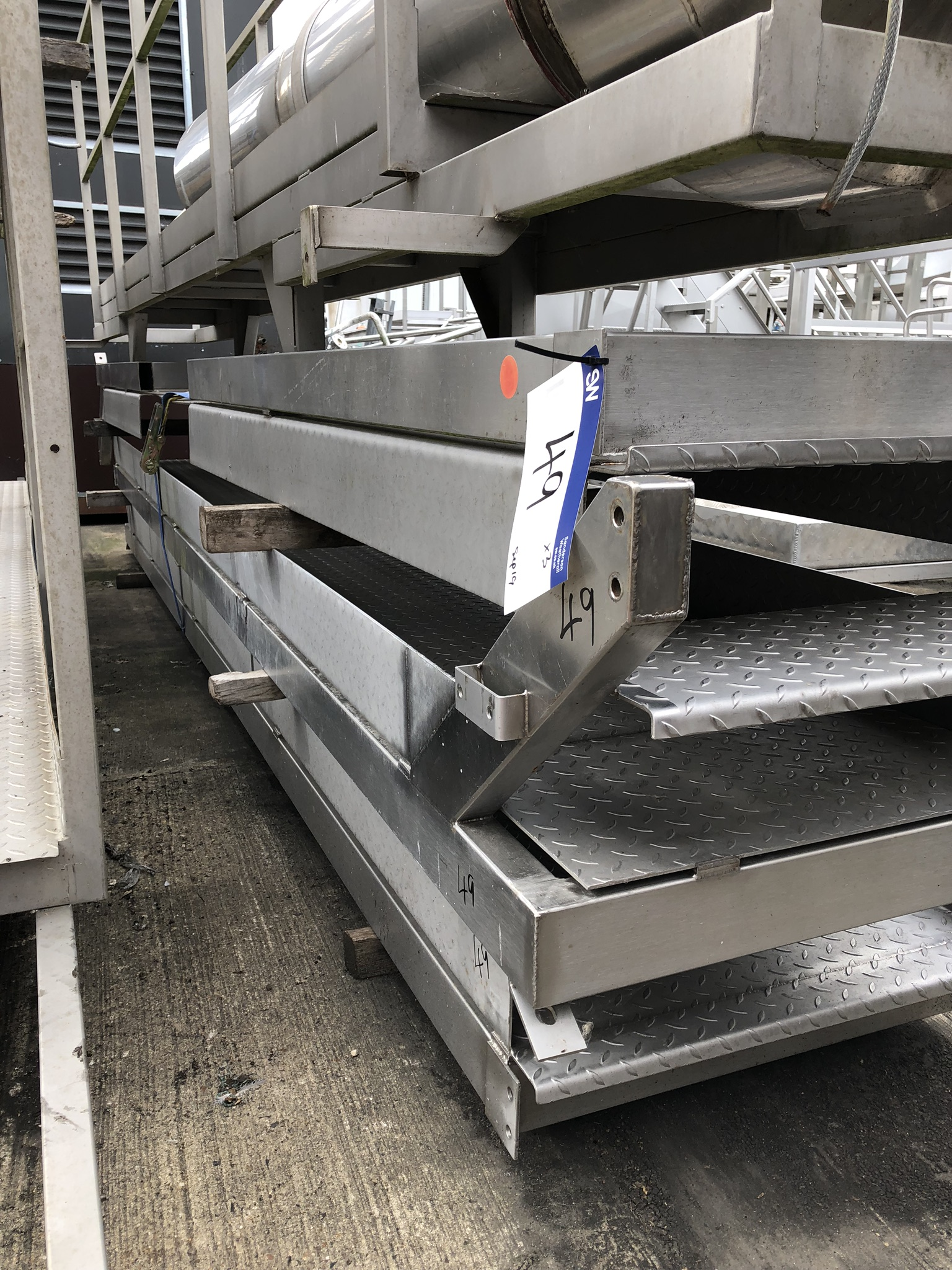 Three Section Stainless Steel Walkway Gantry, approx. 5m x 7.5m wide, lift out charge - £50