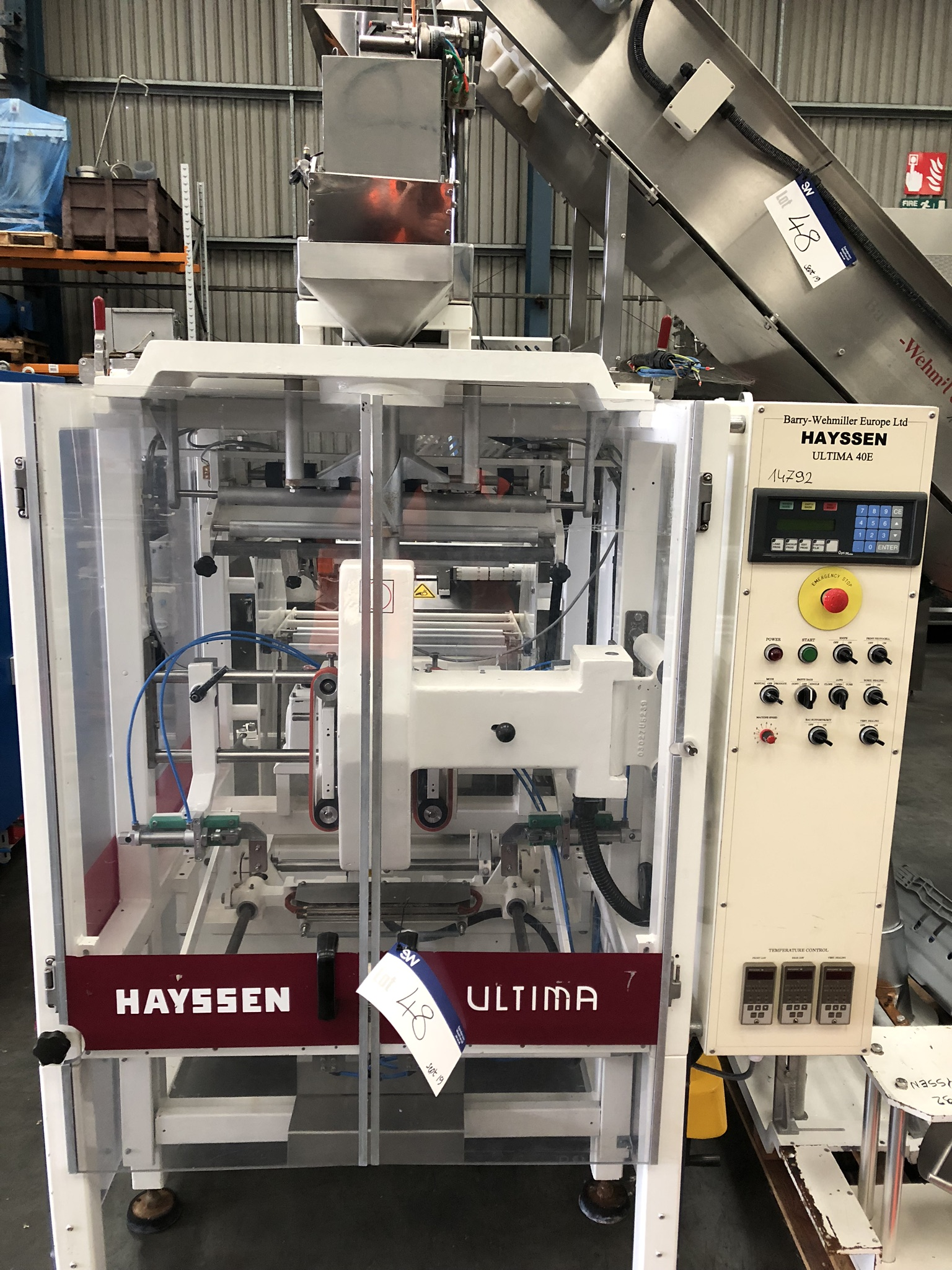 Hayssen Ultima 40E FORM, FILL AND SEAL BAGGING LINE, with four filling tubes, 50mm, 90mm, 130mm, and - Image 6 of 16