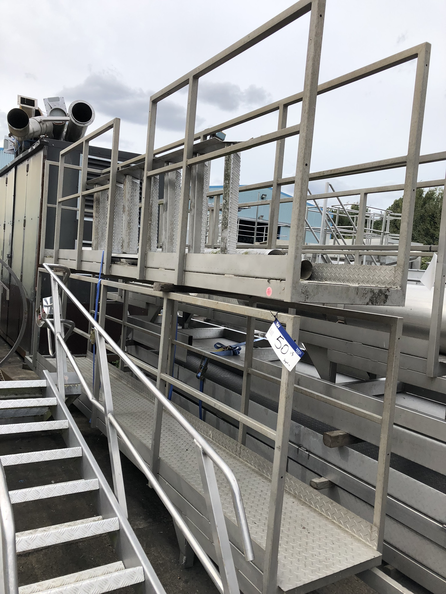 Two Section Stainless Steel Walkway Gantry, with side rails, approx. 5m long x 0.6m wide, lift out