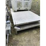 Two Heavy Duty Checker Plate Stands, approx. 2.5m x 1.25m x 0.26m high, lift out charge - £20