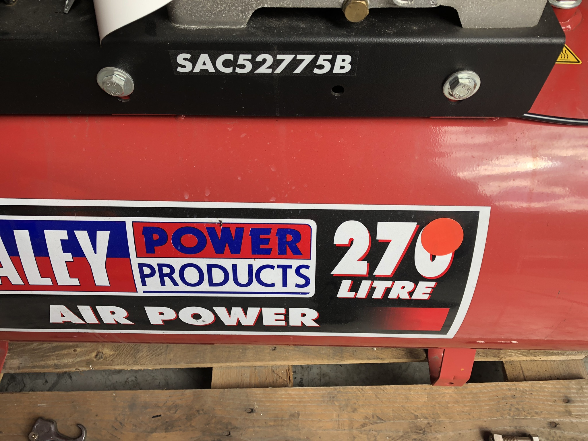 Sealey 270L Receiver Mounted Air Compressor, serial no. 221404956, year of manufacture 2014, approx. - Image 2 of 4
