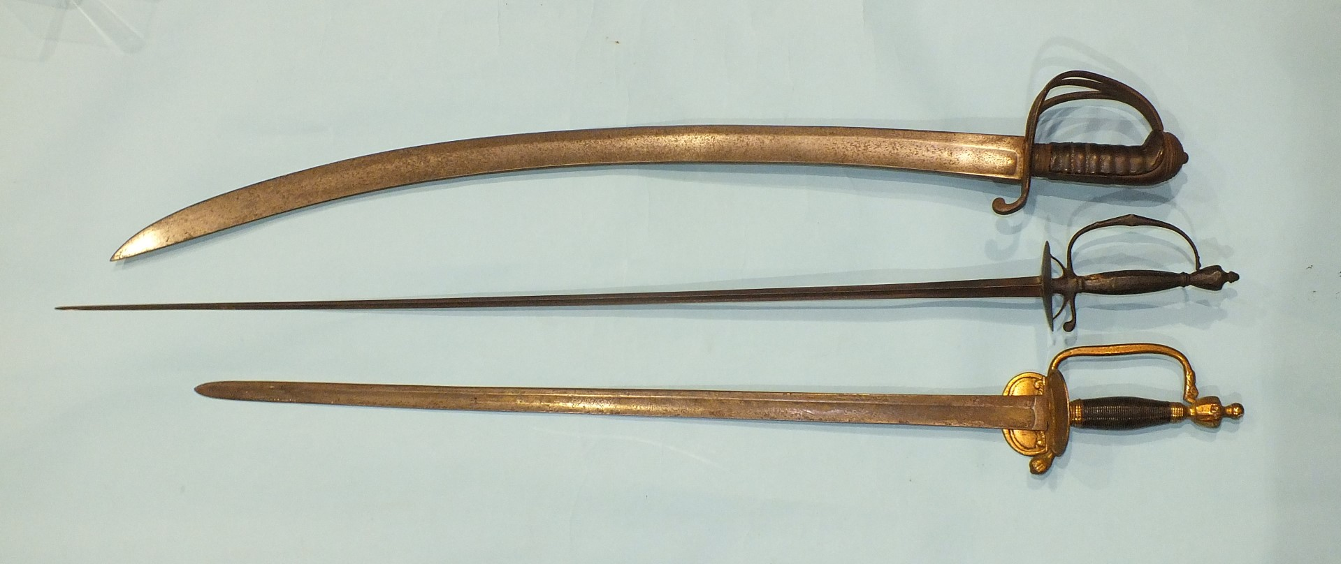 Lot 221 - An 18th steel small sword with 86cm triangular blade, plain sheet grip and guard, 101cm overall, a