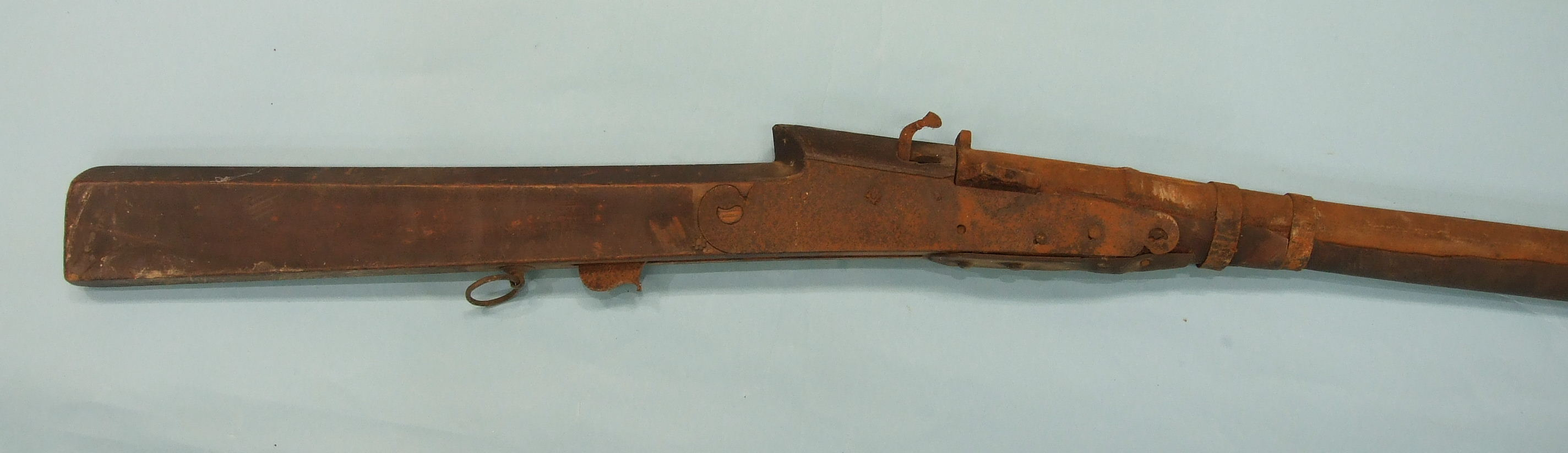 Lot 230 - A percussion box-lock pocket pistol and a match-lock rifle, (both in poor condition), (2).