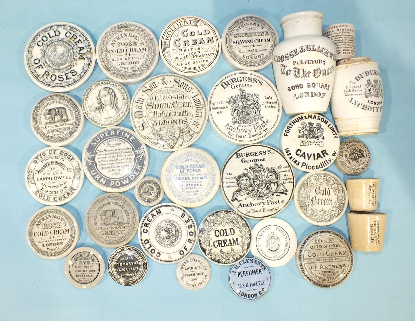 Lot 151 - A 'Burgess's Anchovy Paste' pot lid and twenty-four other 19th century advertising pot lids and