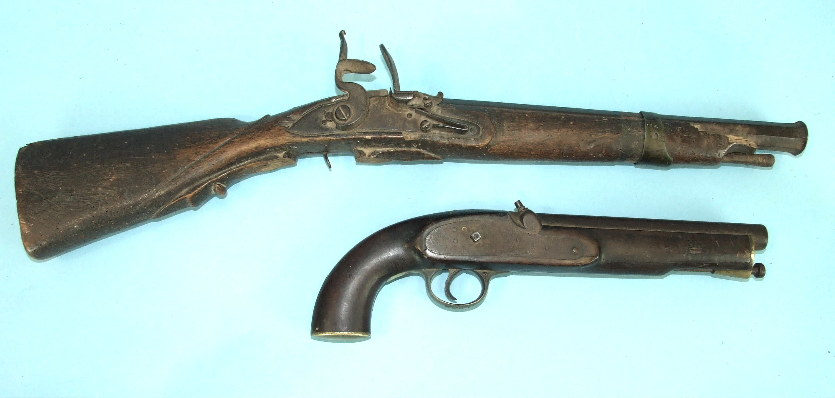 Lot 228 - A Victorian tower percussion service pistol, the 22cm barrel with proof marks, the lock marked 'V