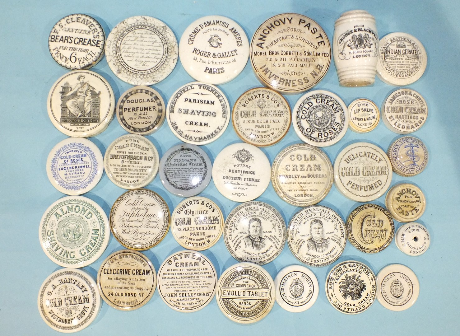 Lot 152 - A 'Bears Grease for the Hair' pot lid and twenty-nine other 19th century advertising pot lids, (