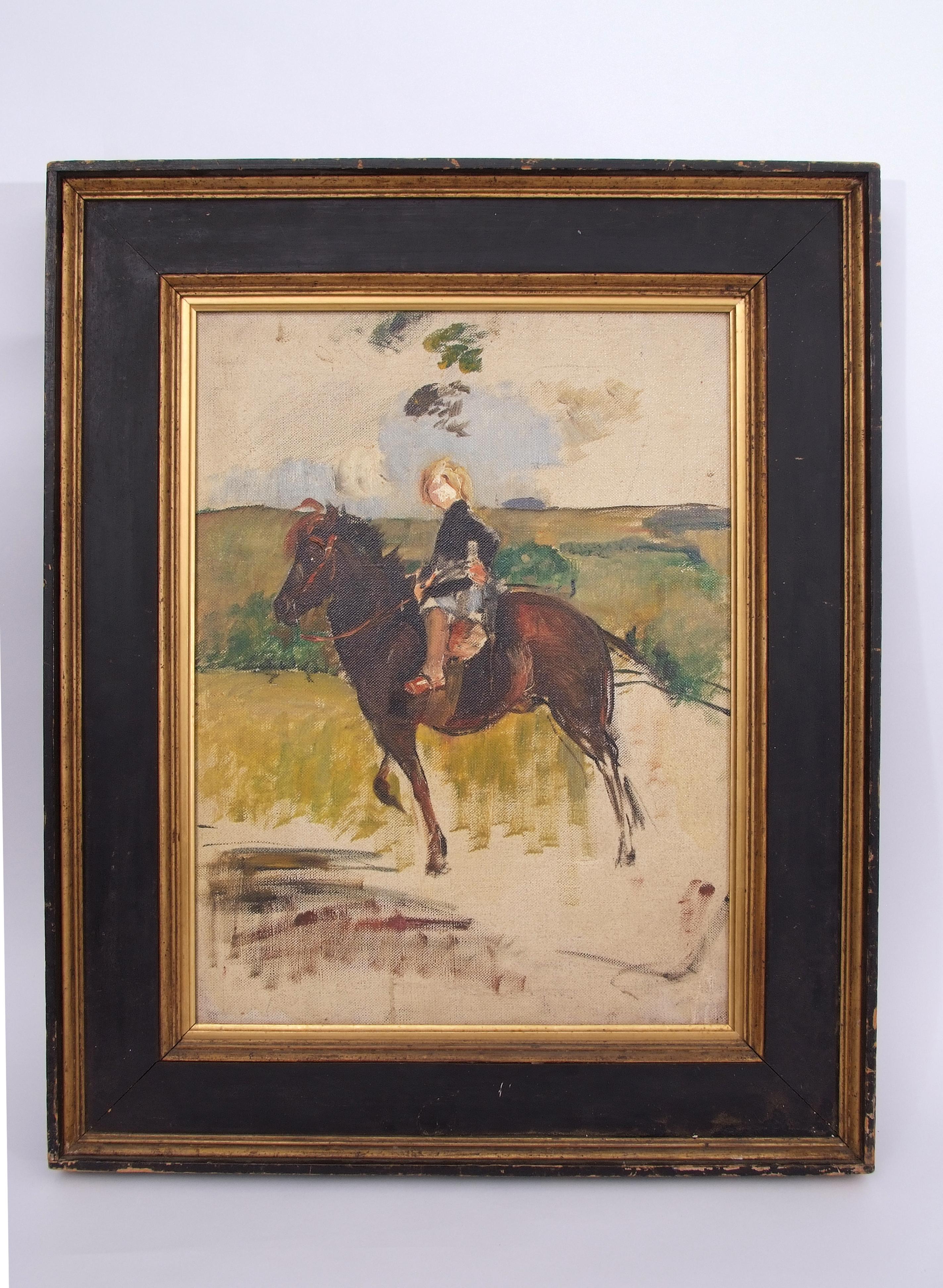 Lot 1304 - Annie Louisa Swynnerton (1844-1933) Miss Elizabeth Williamson on a Pony oil on canvas, 53 x 39cm