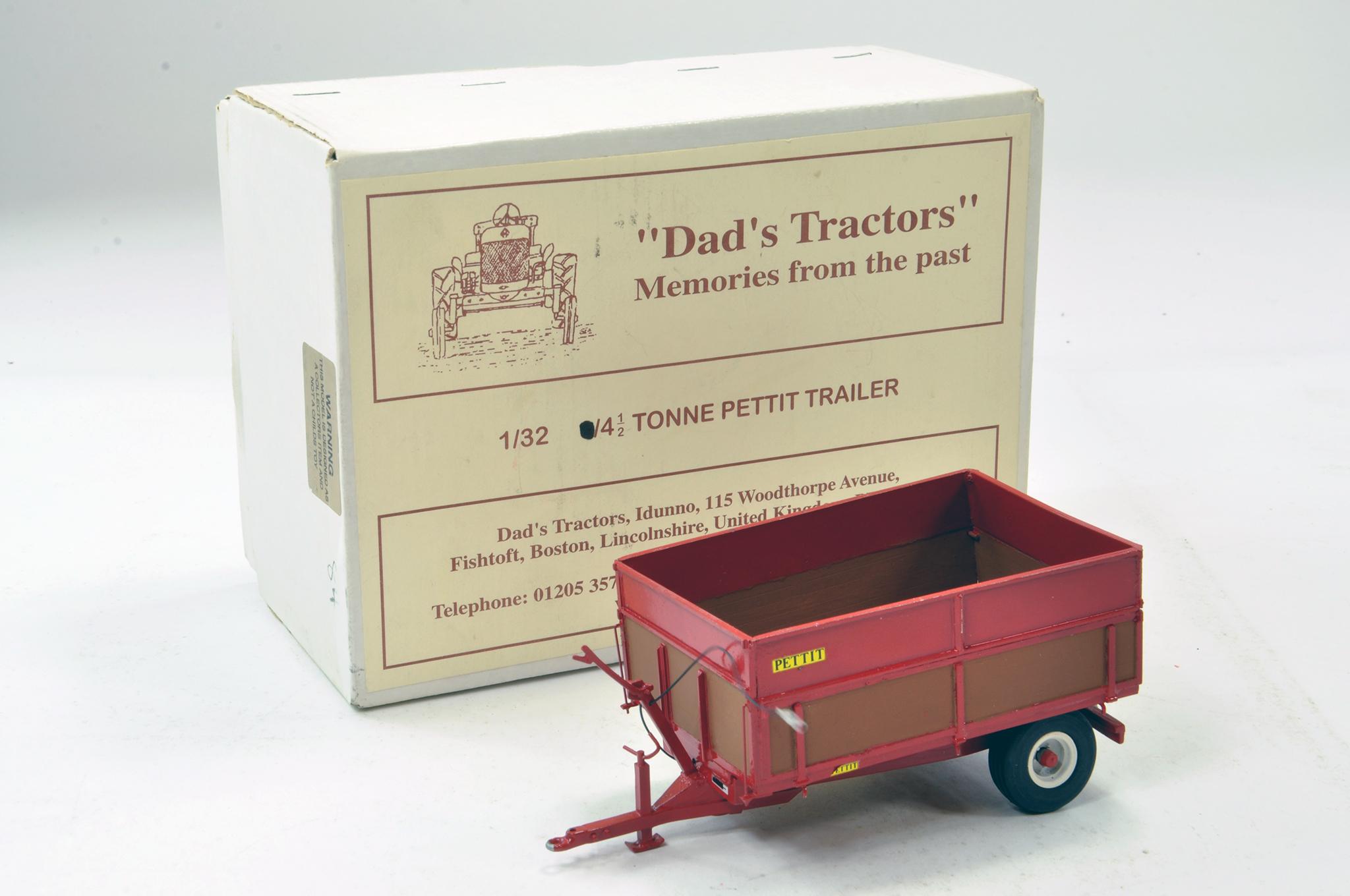 Lot 228 - Dads Tractors 1/32 Hand Built Pettit 4.5 Tonne Trailer. Excellent.