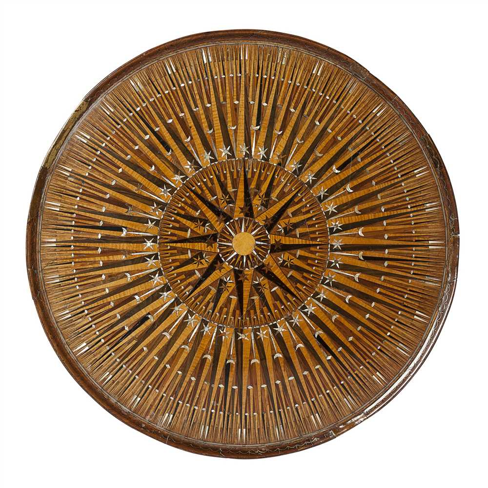 Lot 168 - RARE PARQUETRY, MOTHER-OF-PEARL AND BRASS INLAID OCCASIONAL TABLE, PROBABLY OTTOMAN FOR THE BRITISH